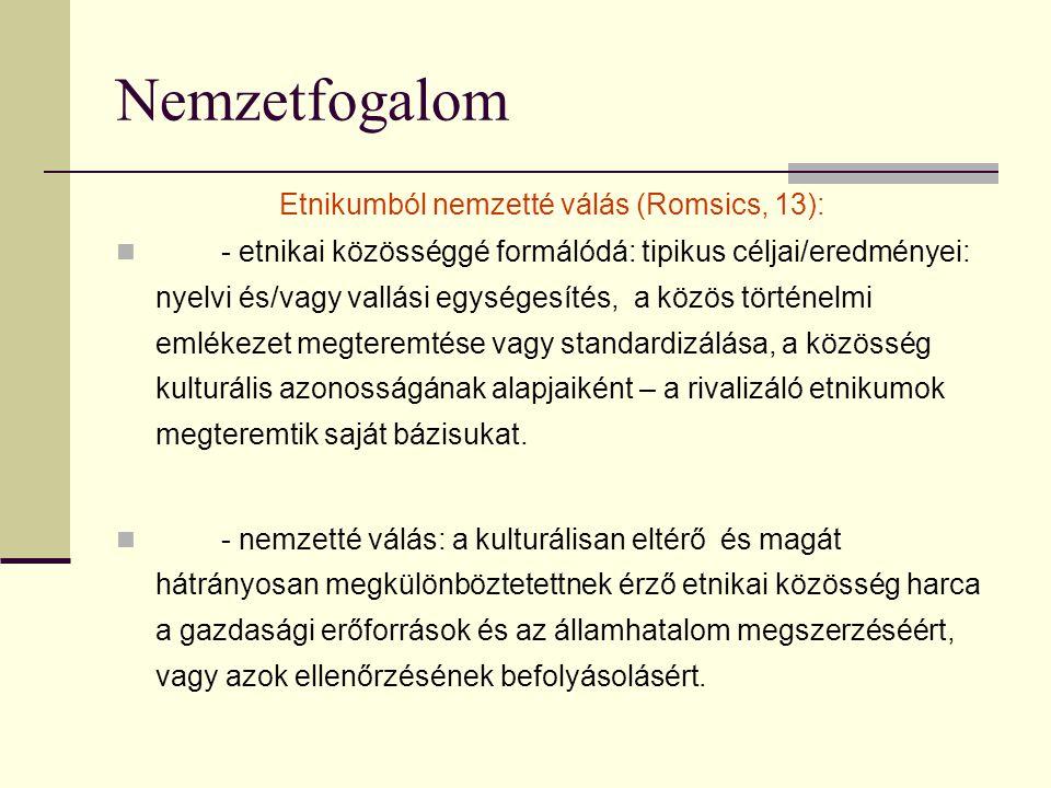 Etnikumból nemzetté válás (Romsics, 13):