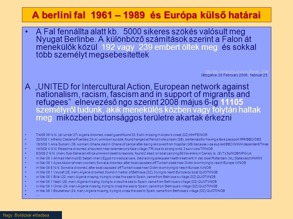 A berlini fal 1961 – 1989 és Európa külső határai