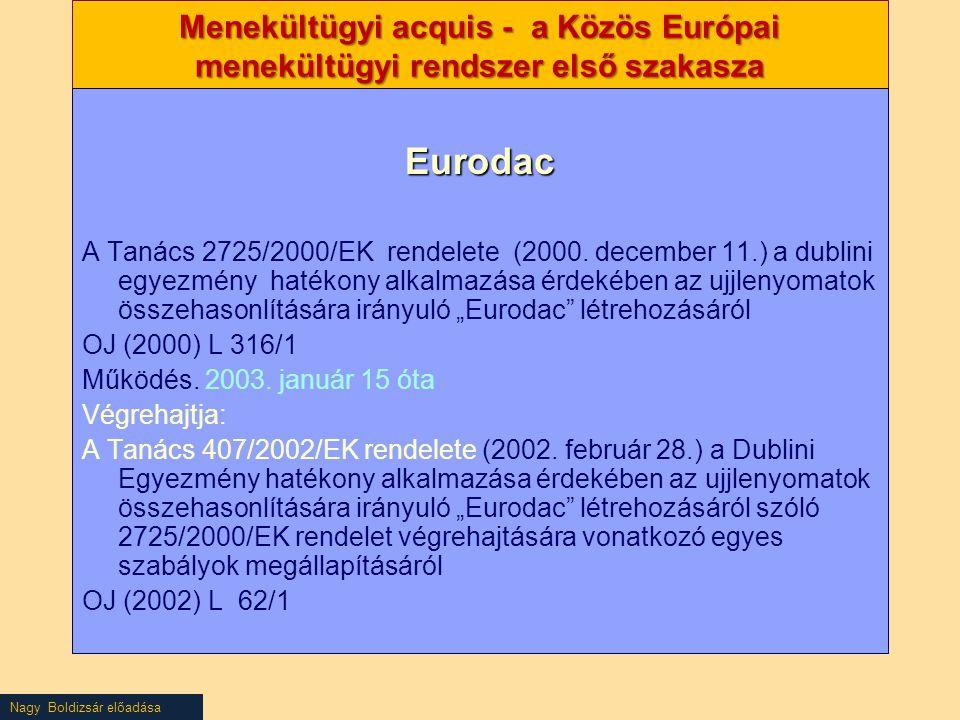 Menekültügyi acquis - a Közös Európai menekültügyi rendszer első szakasza