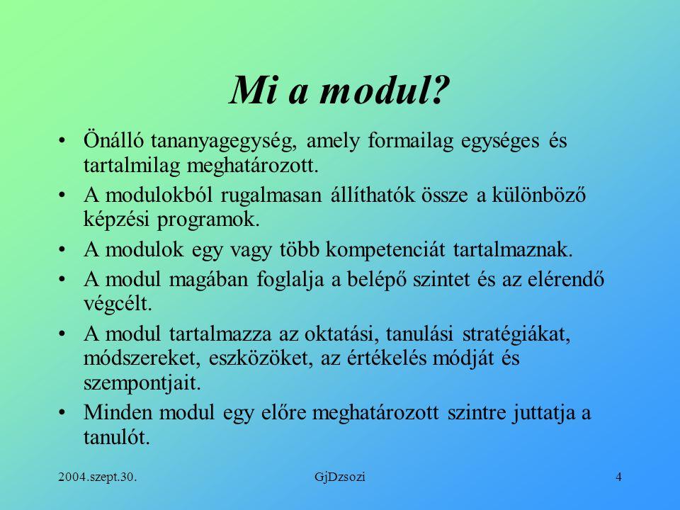 Mi a modul Önálló tananyagegység, amely formailag egységes és tartalmilag meghatározott.