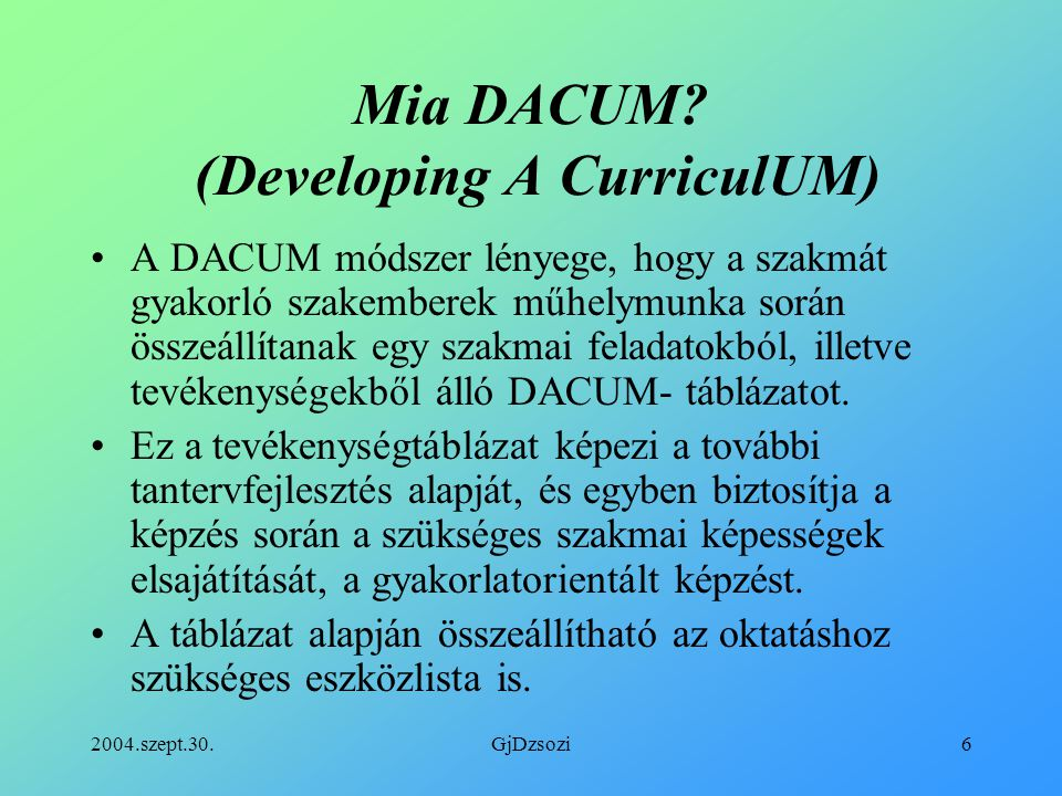 Mia DACUM (Developing A CurriculUM)
