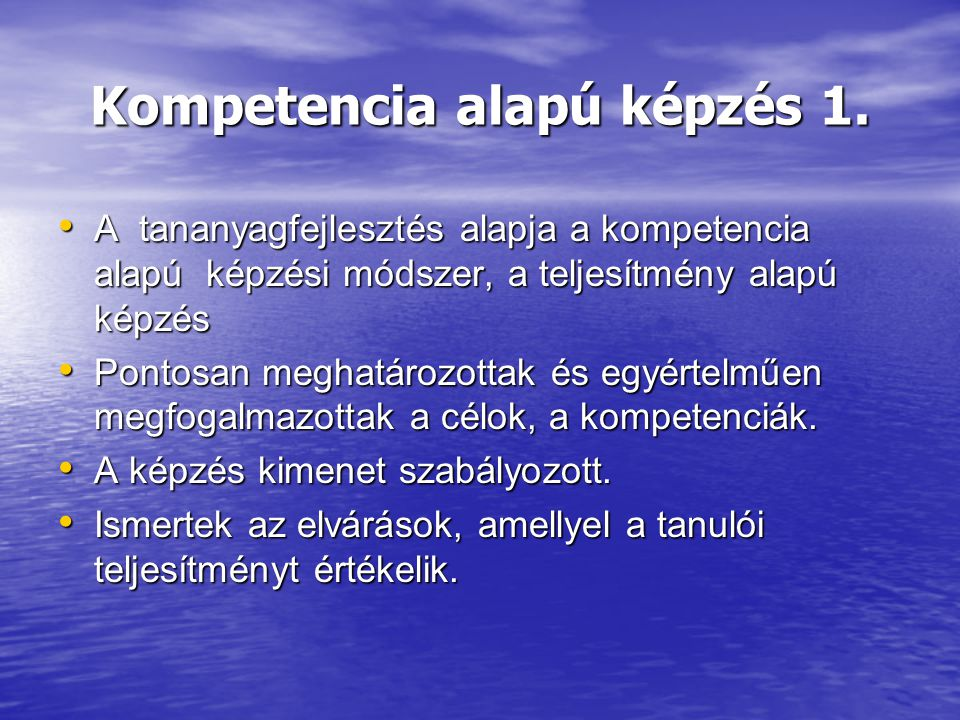 Kompetencia alapú képzés 1.