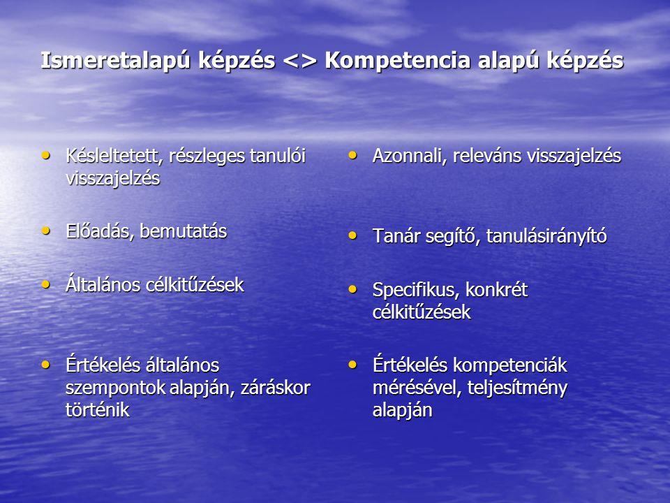 Ismeretalapú képzés <> Kompetencia alapú képzés