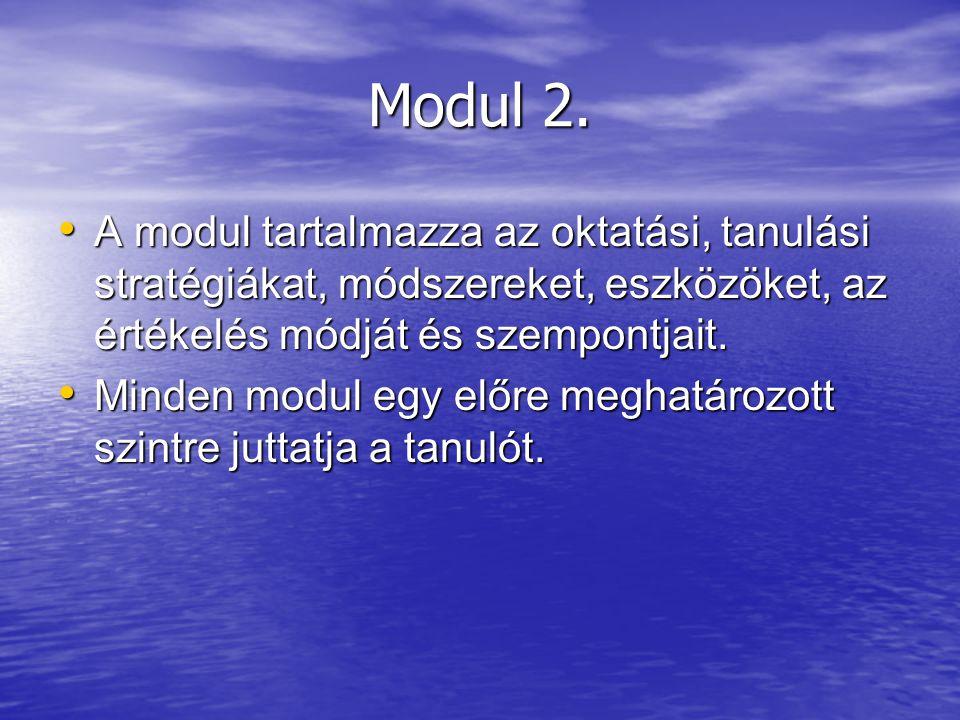 Modul 2. A modul tartalmazza az oktatási, tanulási stratégiákat, módszereket, eszközöket, az értékelés módját és szempontjait.