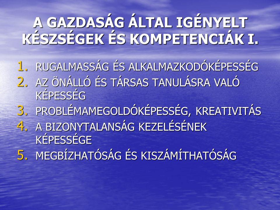 A GAZDASÁG ÁLTAL IGÉNYELT KÉSZSÉGEK ÉS KOMPETENCIÁK I.