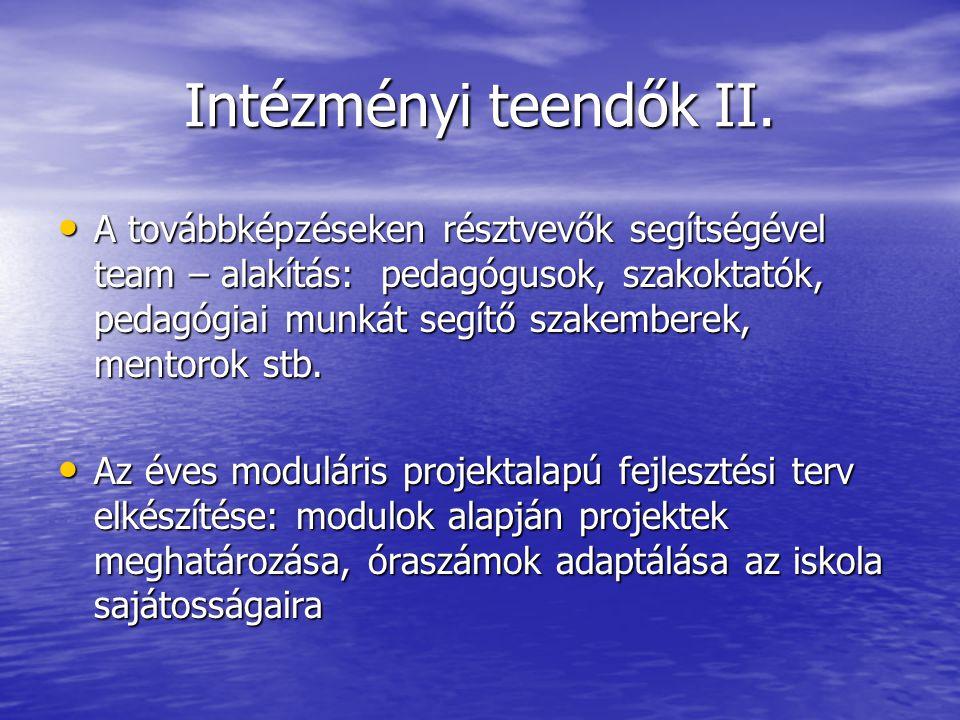 Intézményi teendők II.