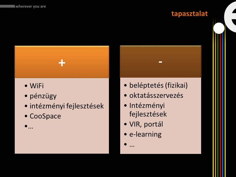 + - tapasztalat WiFi pénzügy intézményi fejlesztések CooSpace …