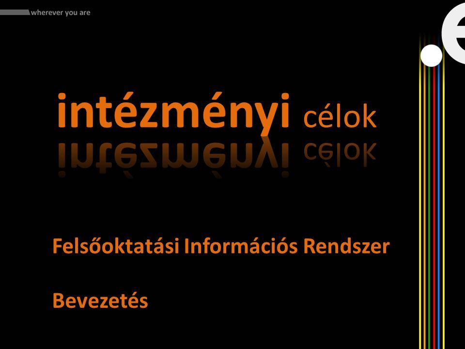 intézményi célok Felsőoktatási Információs Rendszer Bevezetés