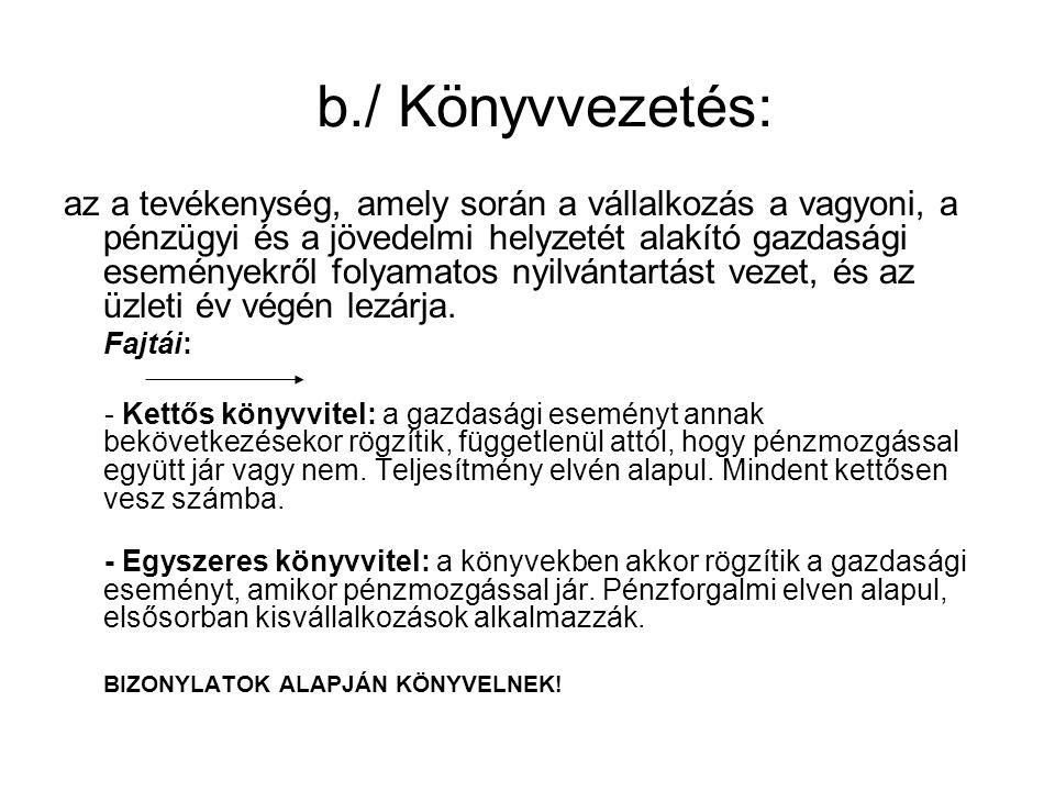 b./ Könyvvezetés:
