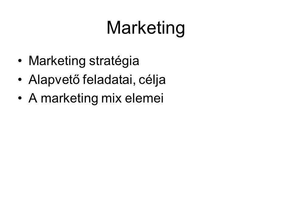 Marketing Marketing stratégia Alapvető feladatai, célja