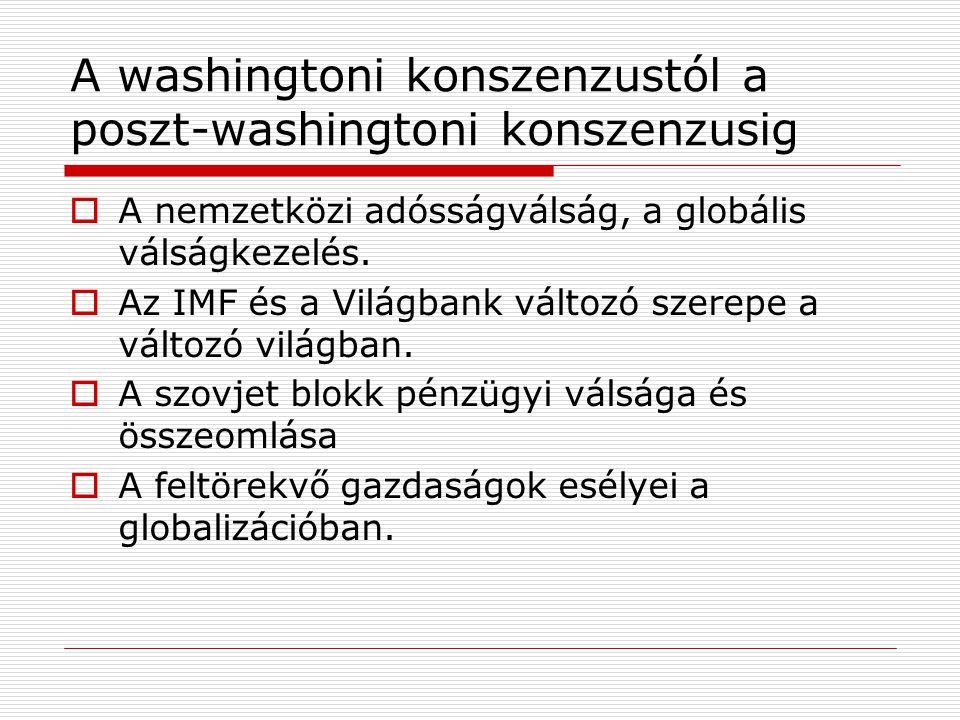 A washingtoni konszenzustól a poszt-washingtoni konszenzusig