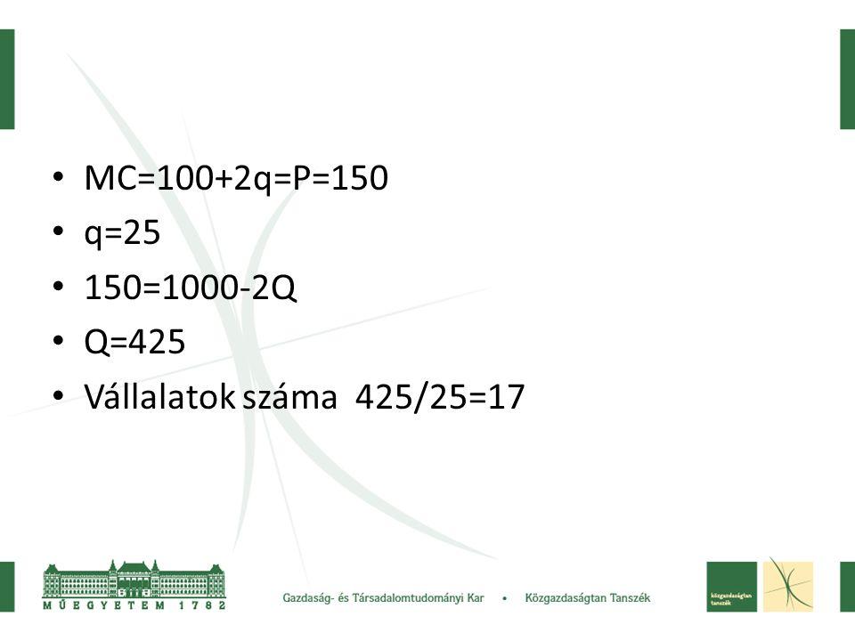 MC=100+2q=P=150 q=25 150=1000-2Q Q=425 Vállalatok száma 425/25=17