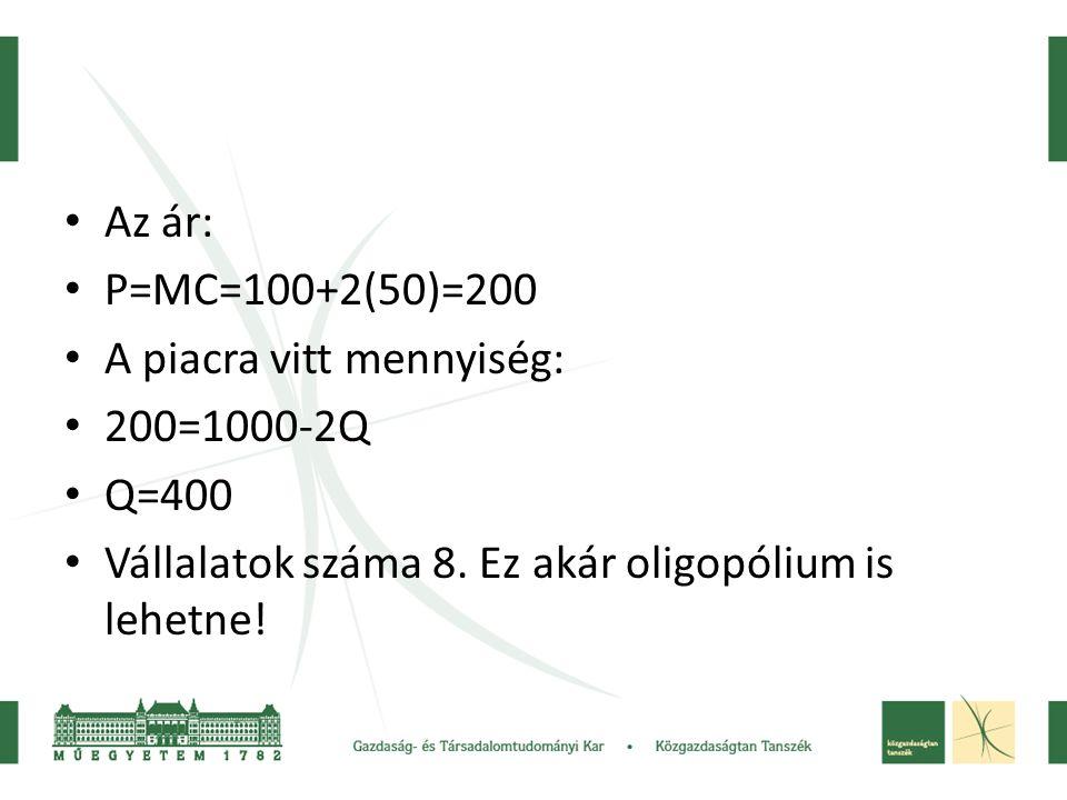 Az ár: P=MC=100+2(50)=200. A piacra vitt mennyiség: 200=1000-2Q.