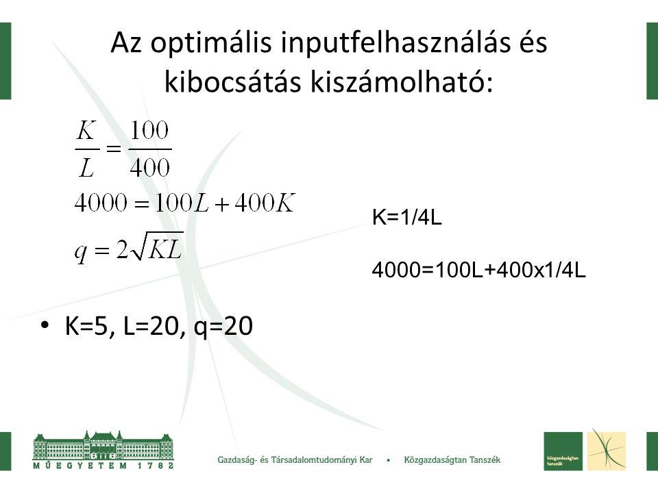 Az optimális inputfelhasználás és kibocsátás kiszámolható: