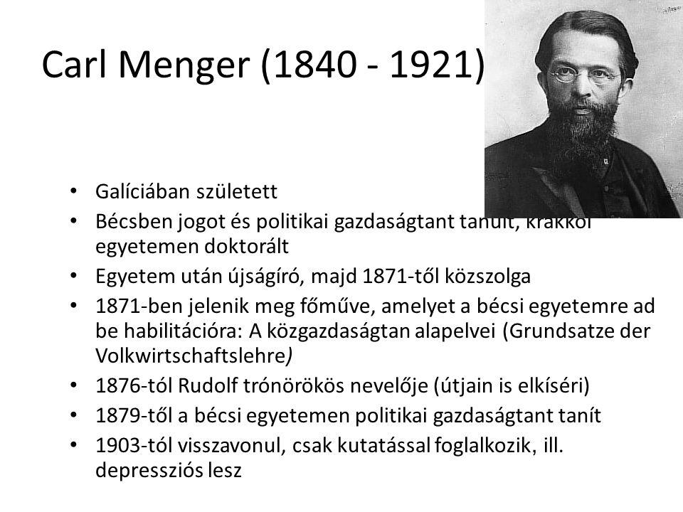 Carl Menger (1840 - 1921) Galíciában született