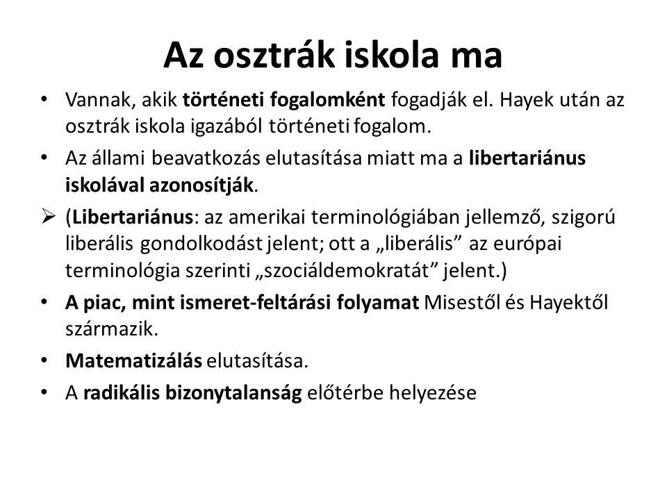 Az osztrák iskola ma Vannak, akik történeti fogalomként fogadják el. Hayek után az osztrák iskola igazából történeti fogalom.