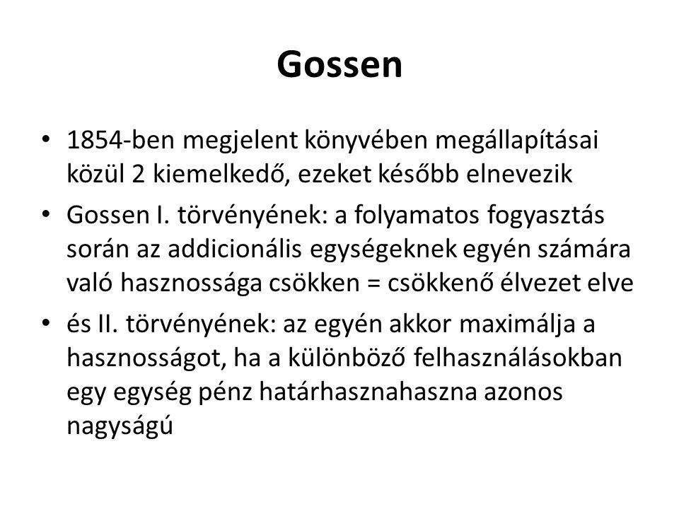 Gossen 1854-ben megjelent könyvében megállapításai közül 2 kiemelkedő, ezeket később elnevezik.
