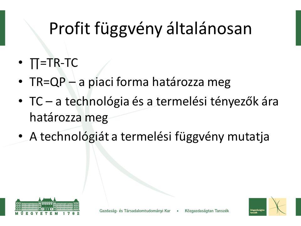 Profit függvény általánosan
