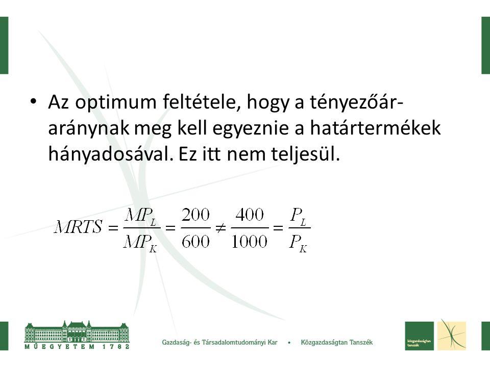 Az optimum feltétele, hogy a tényezőár-aránynak meg kell egyeznie a határtermékek hányadosával.