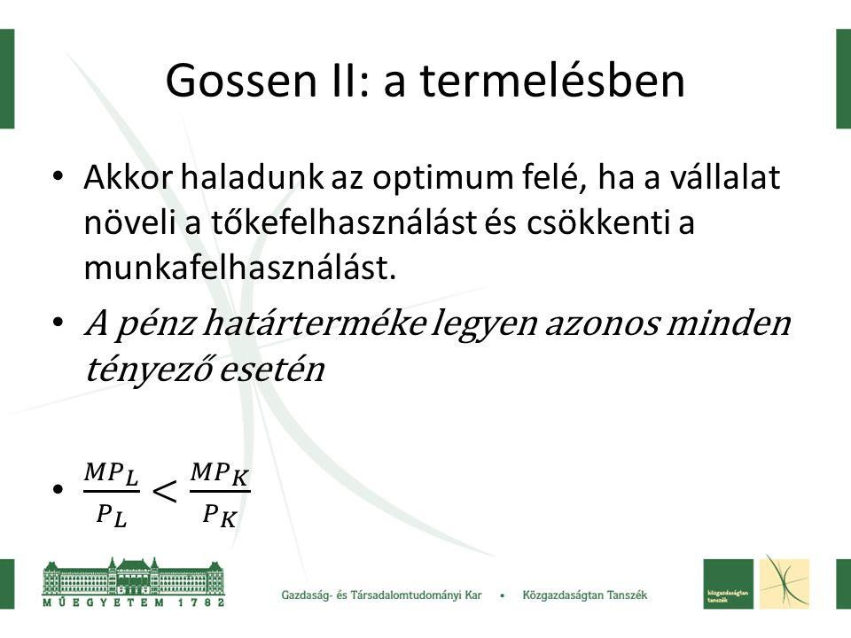 Gossen II: a termelésben