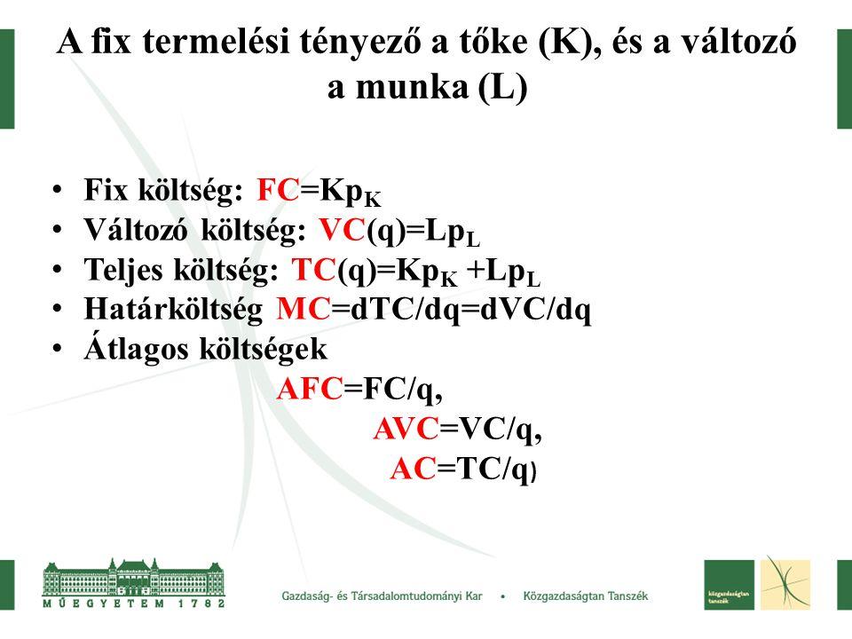 A fix termelési tényező a tőke (K), és a változó a munka (L)
