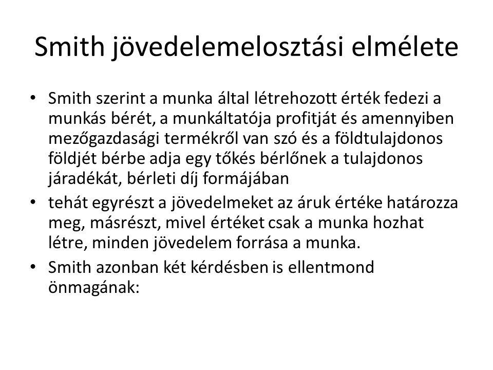 Smith jövedelemelosztási elmélete