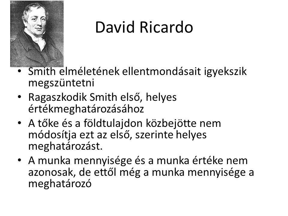 David Ricardo Smith elméletének ellentmondásait igyekszik megszüntetni