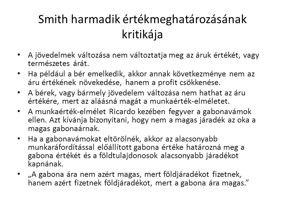 Smith harmadik értékmeghatározásának kritikája