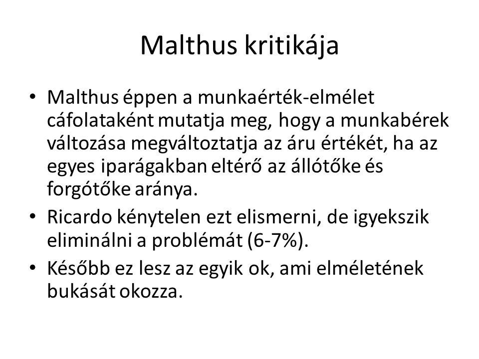 Malthus kritikája