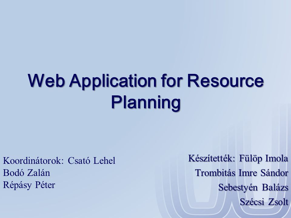 Web Application for Resource Planning
