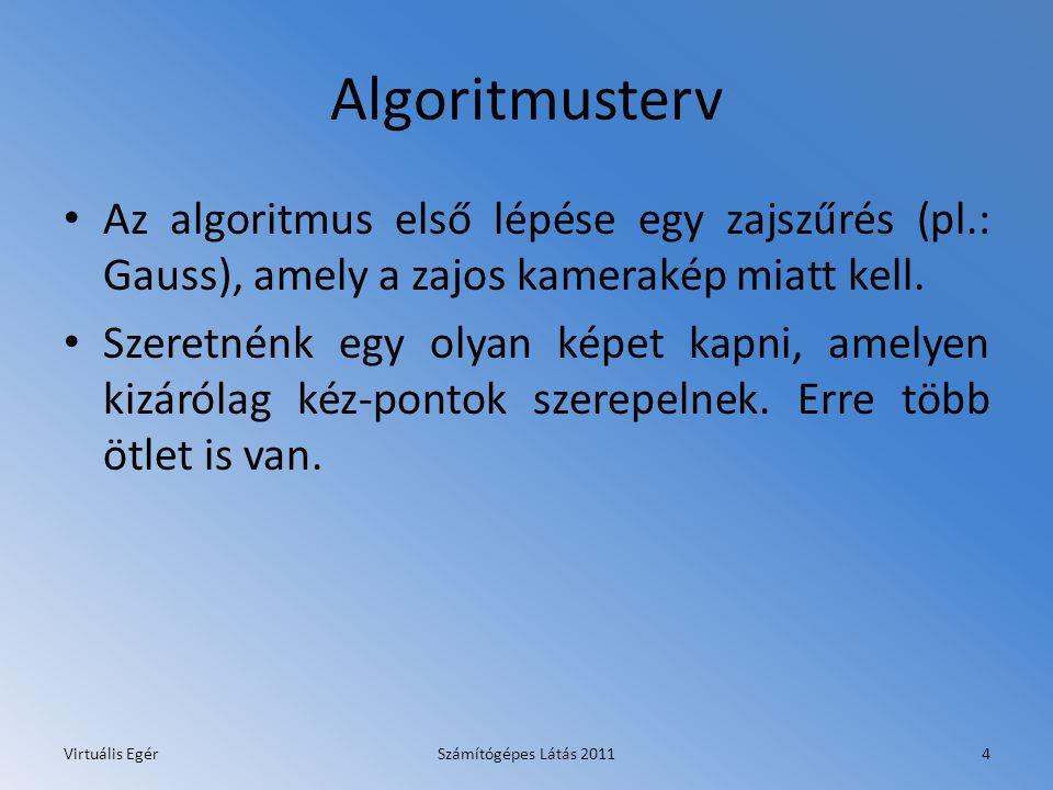 Algoritmusterv Az algoritmus első lépése egy zajszűrés (pl.: Gauss), amely a zajos kamerakép miatt kell.
