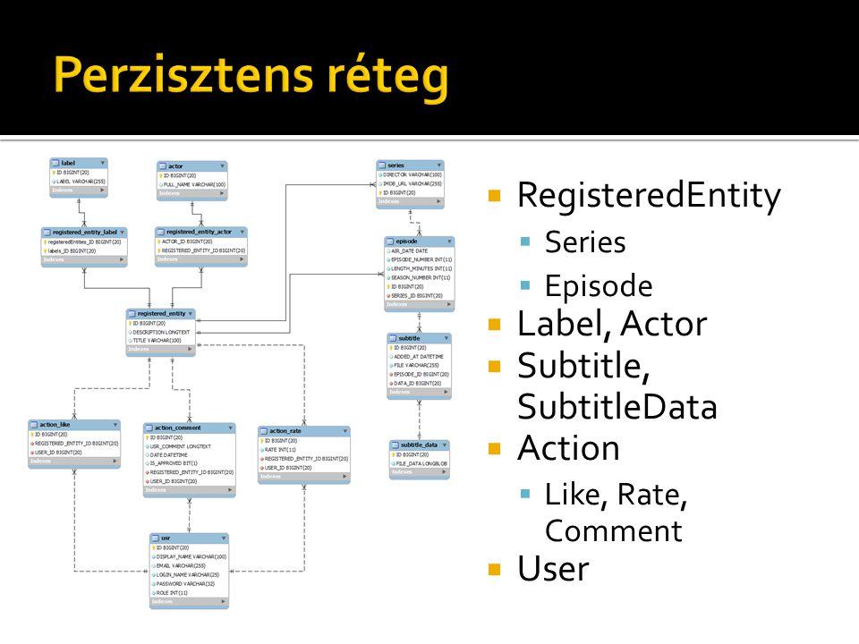 Perzisztens réteg RegisteredEntity Label, Actor Subtitle, SubtitleData