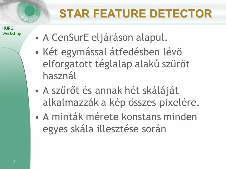Star Feature Detector A CenSurE eljáráson alapul.