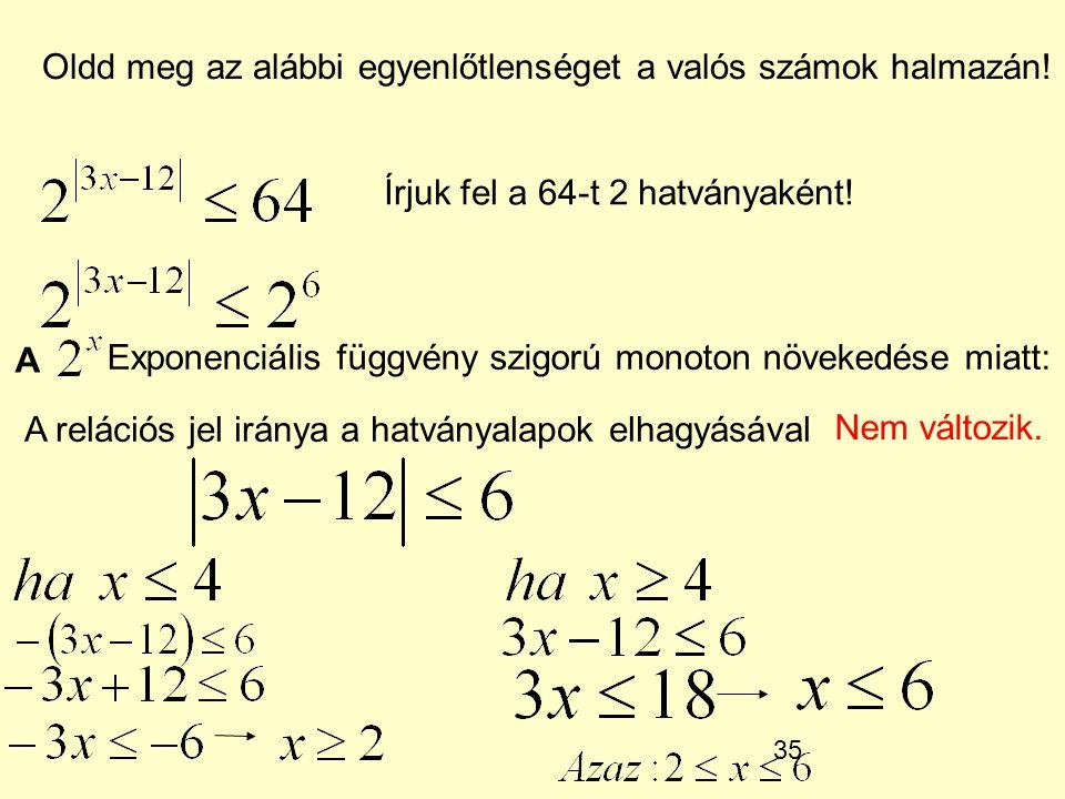 Oldd meg az alábbi egyenlőtlenséget a valós számok halmazán!