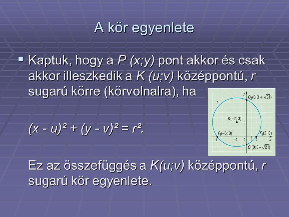 A kör egyenlete Kaptuk, hogy a P (x;y) pont akkor és csak akkor illeszkedik a K (u;v) középpontú, r sugarú körre (körvolnalra), ha.