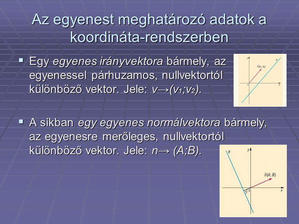 Az egyenest meghatározó adatok a koordináta-rendszerben