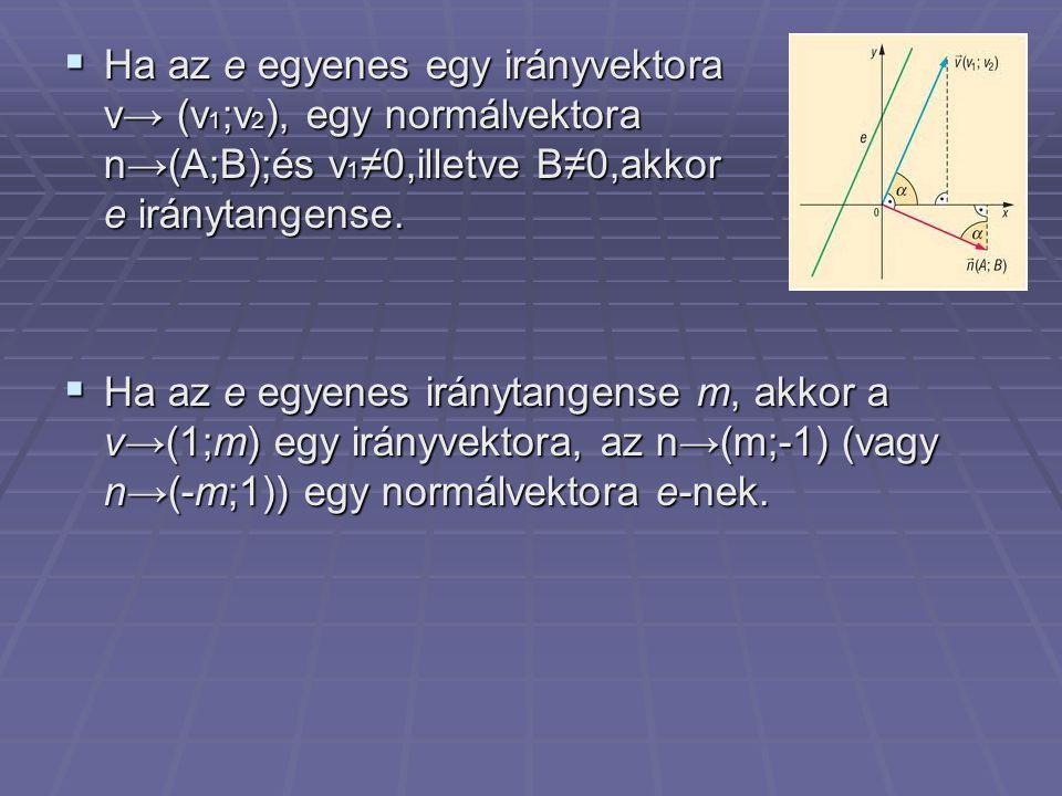 Ha az e egyenes egy irányvektora v→ (v1;v2), egy normálvektora n→(A;B);és v1≠0,illetve B≠0,akkor az e iránytangense.