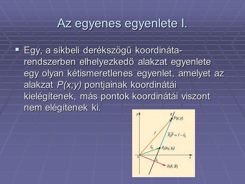 Az egyenes egyenlete I.