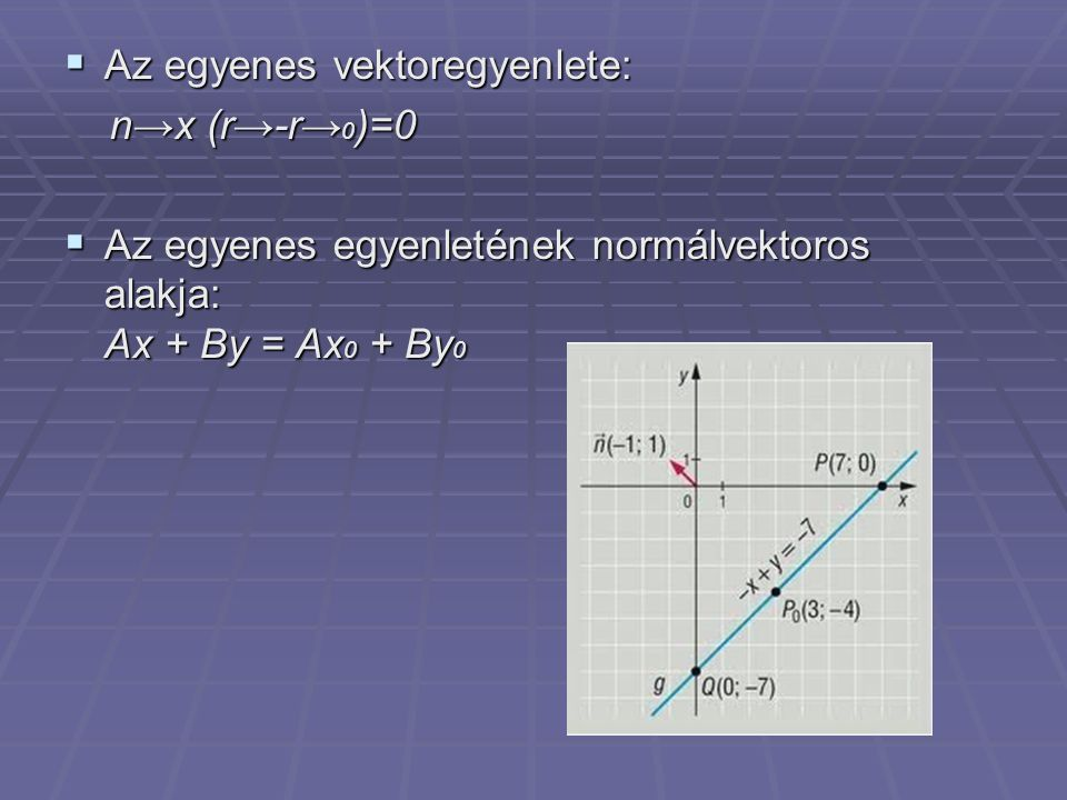 Az egyenes vektoregyenlete: