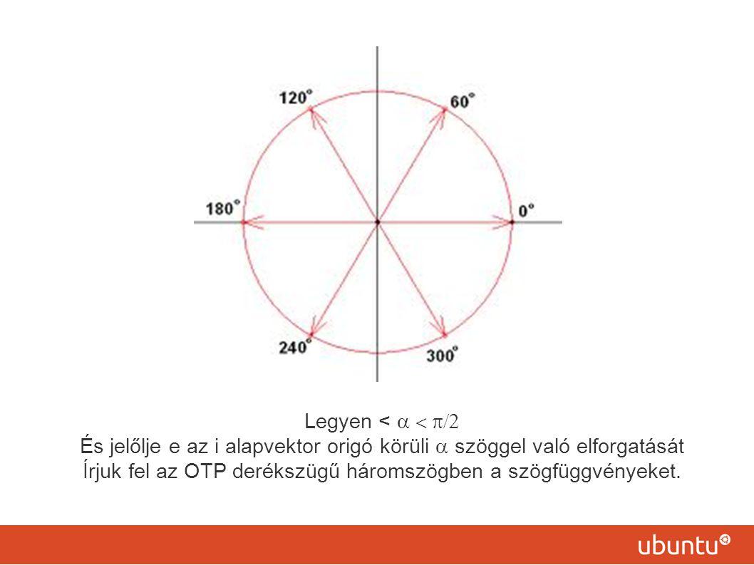 És jelőlje e az i alapvektor origó körüli a szöggel való elforgatását