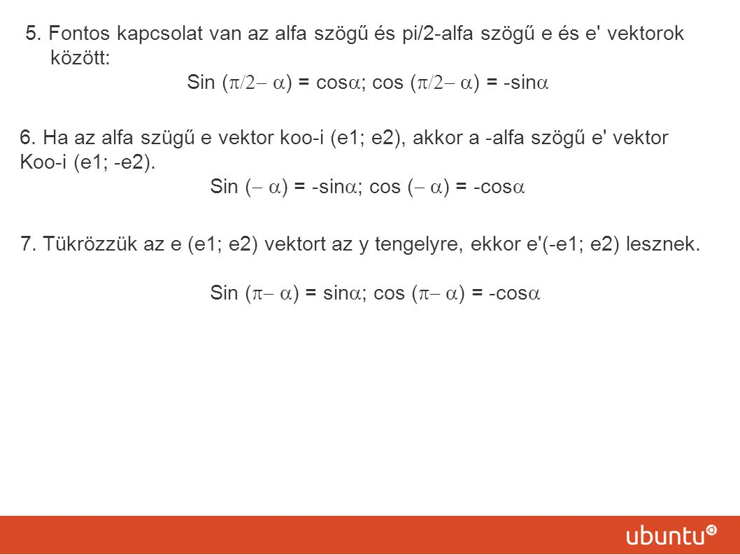 Sin (p/2- a) = cosa; cos (p/2- a) = -sina