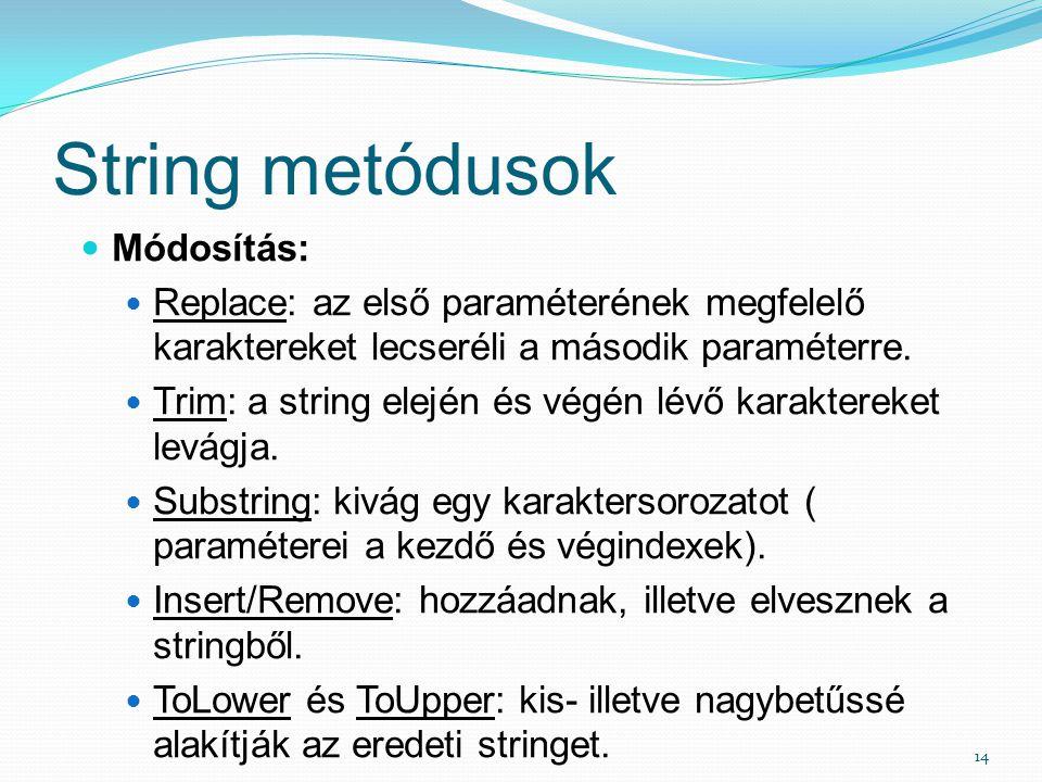 String metódusok Módosítás: