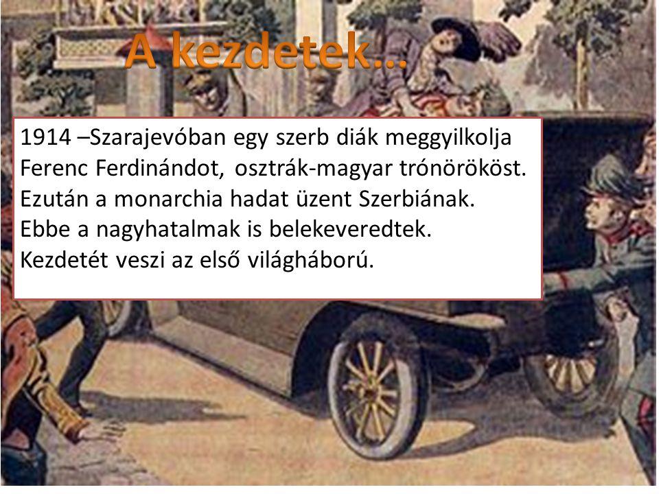 A kezdetek… 1914 –Szarajevóban egy szerb diák meggyilkolja