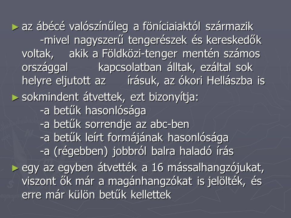 az ábécé valószínűleg a föníciaiaktól származik