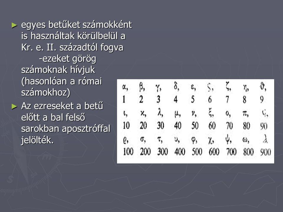 egyes betűket számokként is használtak körülbelül a Kr. e. II
