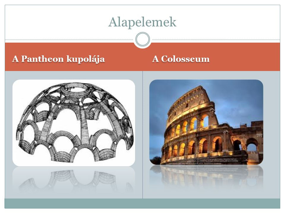 Alapelemek A Pantheon kupolája A Colosseum
