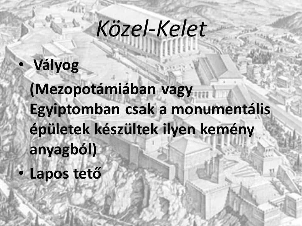 Közel-Kelet Vályog. (Mezopotámiában vagy Egyiptomban csak a monumentális épületek készültek ilyen kemény anyagból)
