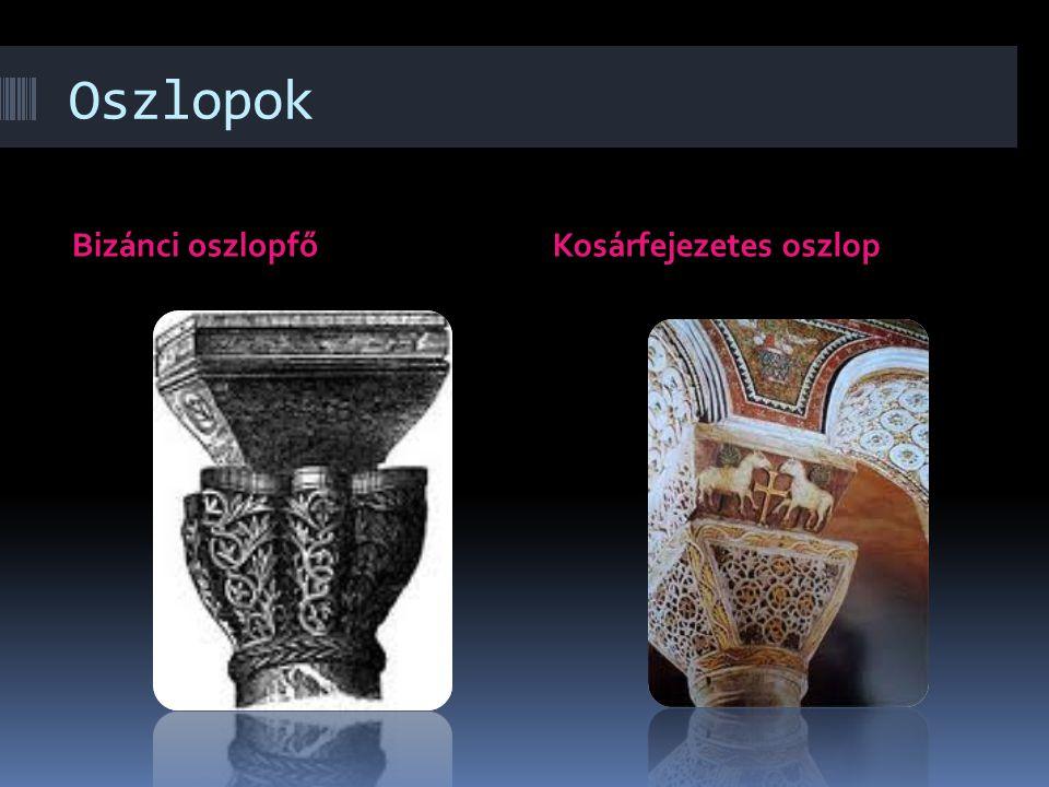 Oszlopok Bizánci oszlopfő Kosárfejezetes oszlop