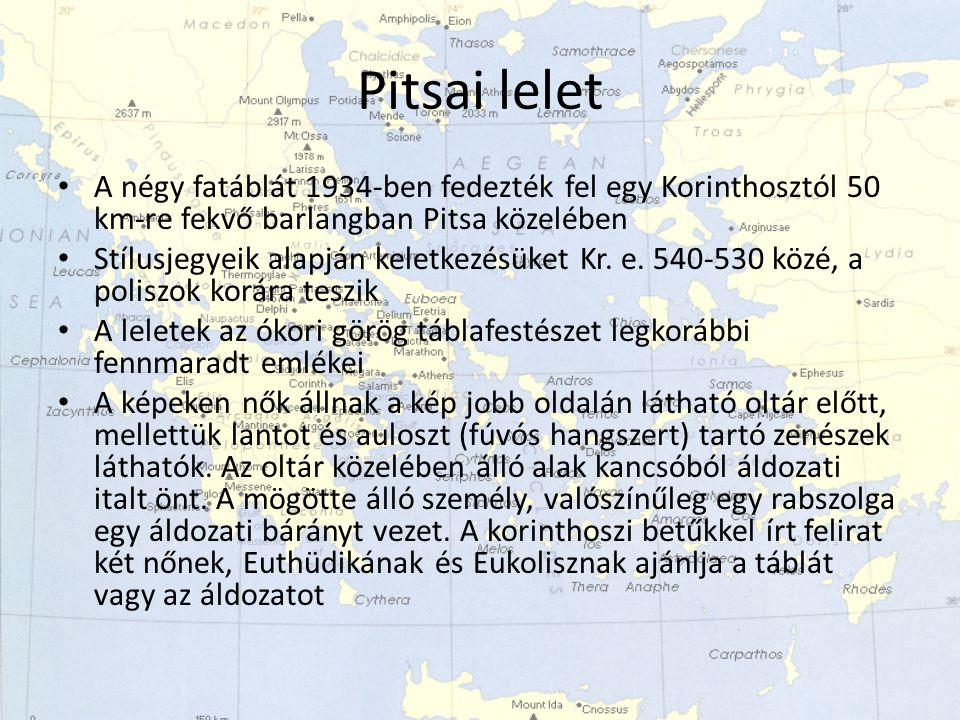 Pitsai lelet A négy fatáblát 1934-ben fedezték fel egy Korinthosztól 50 km-re fekvő barlangban Pitsa közelében.