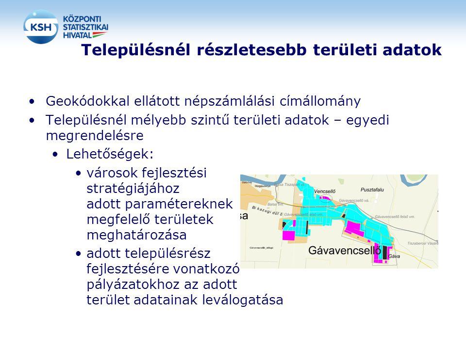 Településnél részletesebb területi adatok